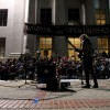By 9:30 PM, around 100 protesters gathered on the steps of Sproul Hall to listen to music and prepare for the Mass Sleep-Out.