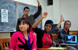 Yvette Felarca (left) and Monica Smith (center) were at Monday night's BAMN meeting in Wheeler Hall.