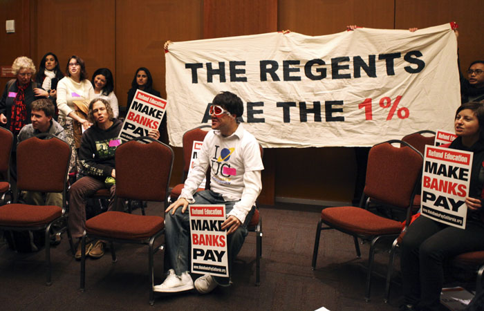 Protesters of the UC Regents hold a 'People's UC Meeting' during the UC Regent's Meeting at UCSF, November 28, 2011.