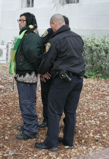 Alex Kim, a member of Occupy Cal, was detained on Sunday afternoon.