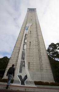 Members of the Occupy movement raised a banner on the side of the campanille today.