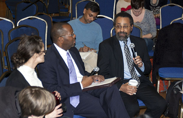 UC General Counsel Charles Robinson and UC Berkeley Law Dean Christopher Edley Jr. converse with students and community members during a townhall held in Pauley Ballroom.