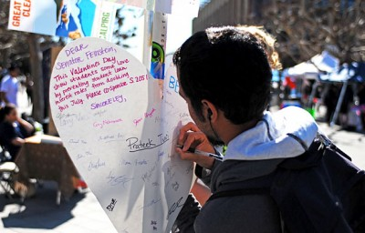 CalPirg members asked students to sign Valentine's Cards to Senator Boxer, Senator Feinstein, and Representative Lee to pass HR 3826, avoiding an increase in student loan interest rate hikes.