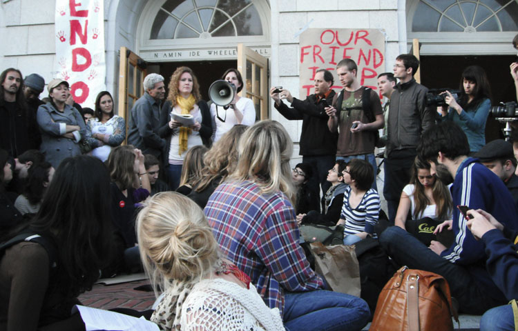 Protesters sit outside Wheeler Hall during the March 4, 2011, ledge sit. A march from Berkeley to Sacramento is planned to begin Thursday, as protesters continue demonstrations in support of public education.