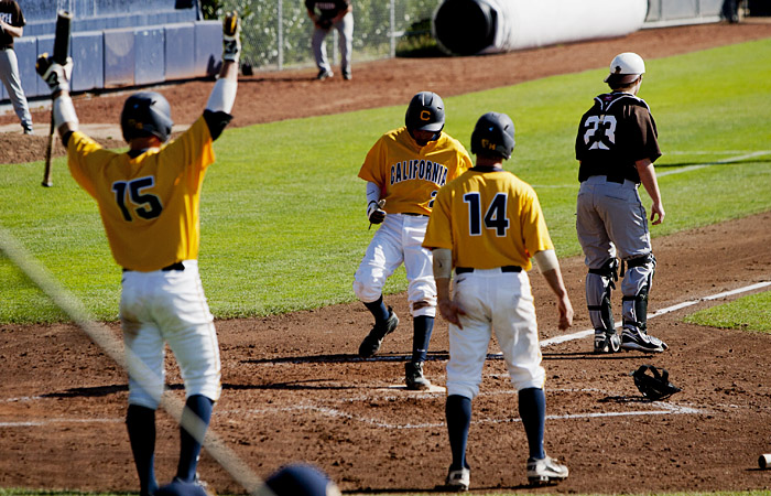 Junior Darrel Matthews crossed the plate three times — once in the first game and twice in the second game — in Cal's doubleheader against Lehigh on Sunday.