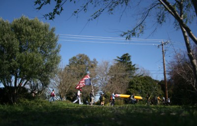 Protestors walk through farm country in Vacaville on the third day of the 99 Mile March to Sacramento.
