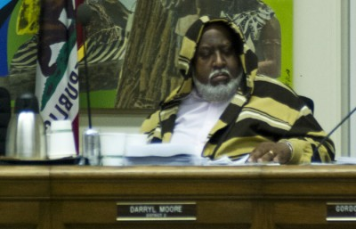 Berkeley City Council member Daryl Moore wears a hoodie at Tuesday's council meeting.