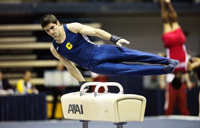 Matthew Del Junco scored a 13.30 on pommel horse and 13.10 on rings for Cal at the MPSF Championships. The Bears finished third, ahead of only Air Force.