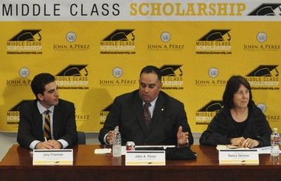 Speaker John Perez and Congresswoman Nancy Skinner speak about the Middle Class Scholarship in April.