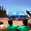 Kids look on as Tony Hawk and other professional skaters perform during a live demo on a vertical ramp at the Lawrence Hall of Science this past Saturday. Ashley Chen/Staff