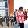 Left: Police stand outside of UCSF Campus in San Francisco during the UC Regent's meeting. Right: Members of the public and students dressed as zombies speak out at the UCSF Mission Bay campus. (Sarah Brennan/Staff)