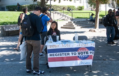 ASUC representatives table on Sproul to encourage eligable students to register to vote.