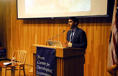 USAID administrator Rajiv Shah speaks about changes in USAID business at the Blum Center on campus.