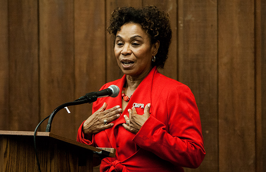 Congresswoman Barbara Lee speaks at a townhall event in the MLK Student Union. Lee is running for re-election against Marilyn Singleton.