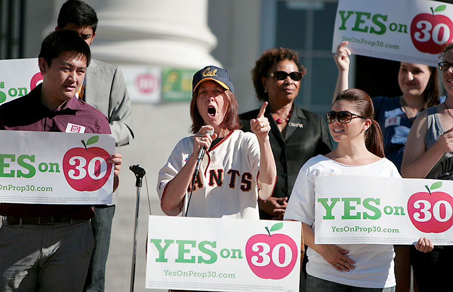 Assemblywoman Nancy Skinner speaks during a rally for Higher Education held on Savio Steps on Sproul Plaza.