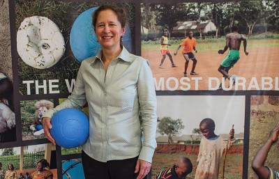 Lisa Tarver, along with Tim Jahnigan, created a durable plastic soccer ball to be used by children in developing countries called the One World Futbol.