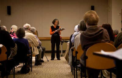 """Former Berkeley Council member Ying Lee reads from her recently published book """"Ying Lee: From Shanghai to Berkeley."""""""
