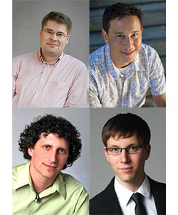 Top Left: Yuriy Gorodnichenko, Top Right: Frederico Finan, Bottom Left: Michael Lustig, Bottom Right: Bjorn Hartmann are awarded Sloan Foundation Fellowships.