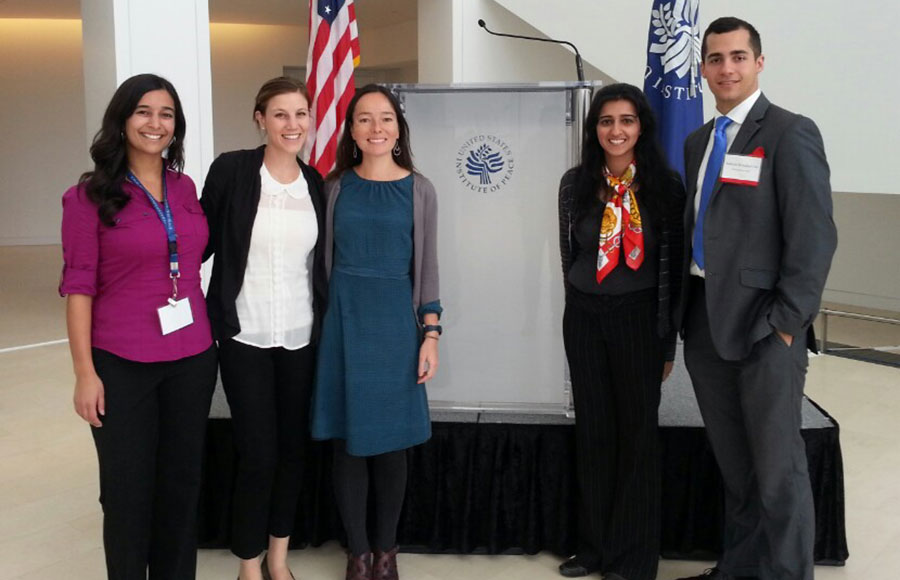 Law students Michelle Ben-David, Amy Belsher, Anthony Bestafka-Cruz and Saira Hussain attended the symposium as a part of their ongoing research on countries' accountability methods regarding sexual violence.