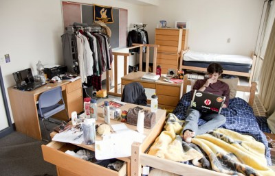 Freshman Myles Blackwell lives in a study lounge in Unit 2, which had been turned into a quad dorm room.