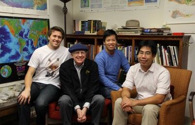 Pictured above is everyone involved on ChronoZoom from the group (Big History Labs). Left to right: Chris Engberg, Professor Walter Alvarez, Roland Saekow, and Professor David Shimabukuro.