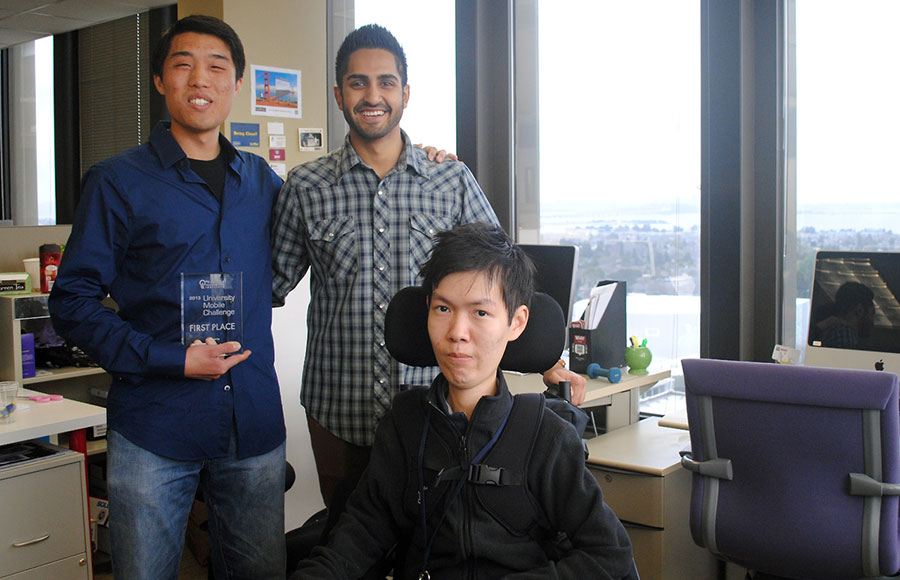 Nick Lee (left) and Yasir Motiwala (right) and Hung Leonga front three of the 5co-founders of Flowbit stand-inside of the-Berkeley Skydeck.