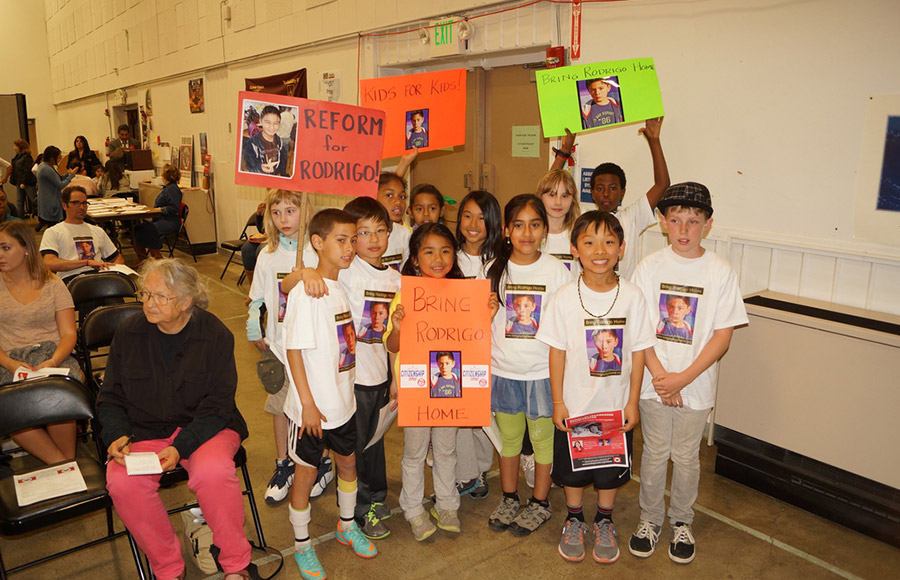 In preparation for their trip to Washington, where they hope to talk with influential political figures, the 4th graders from Jefferson Elementary school have been raising money by selling T-shirts, hosting games and seeking donations for Rodrigo's return.