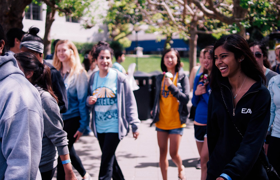 Students came together on Sunday afternoon to participate in UC Berkeley's annual Suicide Prevention Walk through campus. The walk was organized by the student group You Mean More.