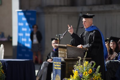 Gov. Jerry Brown gives a speech to the Political Science graduates in the Greek Theatre on Monday.