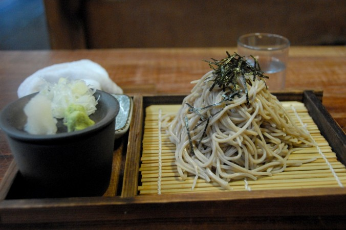 Homemade soba ready for lunch.