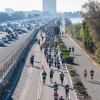 Competitors race beside Interstate 80 during the Berkeley Half Marathon, the first held in the  city. About 8,000 took part in the race, which began Downtown and ended at Golden Gate Fields.