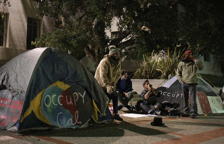 Activists erected tents on Sproul Plaza on  Friday evening to commemorate the Occupy Cal movement on its second anniversary.