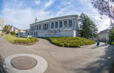 Doe Library, pictured here with a fish-eye lens, is one of the libraries set to receive additional funding in  2014-15. In 2003, UC Berkeley was ranked third in library investment among major research libraries.