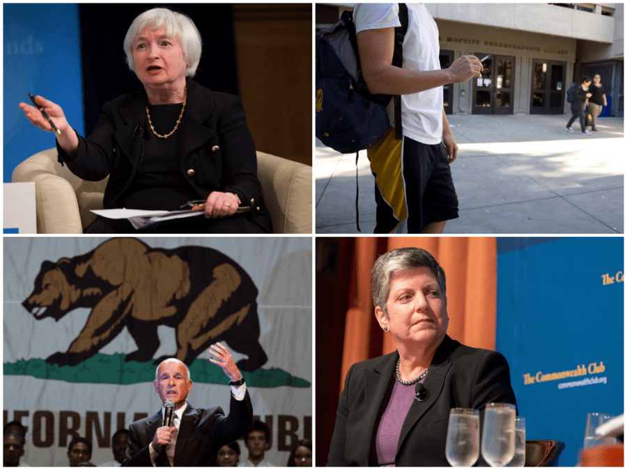(Clockwise, from top left): Janet Yellen's confirmation as the chair of the Federal Reserve, the tobacco ban in the UC Berkeley campus, Janet Napolitano's opposition of the academic boycott against Israel alongside Chancellor Nicholas Dirks, and Gov. Jerry Brown's declaration of state of emergency of the recent drought.