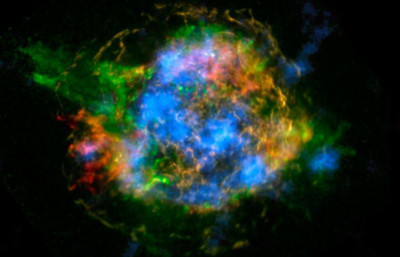 NASA/COURTESY  Using the NuSTAR telescope, astronomers can map the decay of core elements produced by supernova explosions.