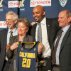 UC Berkeley Chancellor Nicholas Dirks, Athletics Director Sandy Barbour, new Cal men's basketball coach Cuonzo Martin and Vice Chancellor of Finance John Wilton pose for a photograph at Martin's introductory press conference on April 15, 2014.
