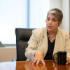 UC President Janet Napolitano talks to UC student press Tuesday about her first year in office.