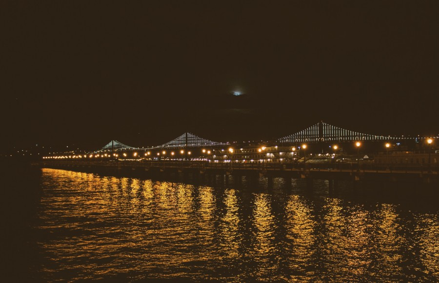 bay bridge after dark