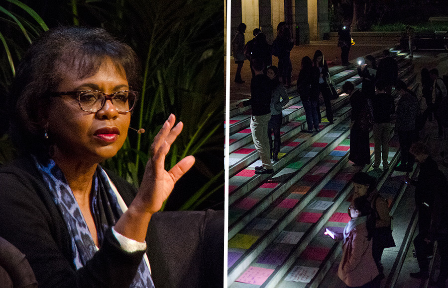 Anita Hill delivers the closing keynote address of the National Conference on Campus Sexual Assault and Violence in Wheeler Auditorium on Wednesday. Survivors of sexual harassment and assault placed colored sheets of paper with quotes on the steps outside and criticized the lack of inclusion at the conference.