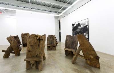 The Man on the Chair, 2008–2009, by He Xiangyu (Chinese, b. 1986). Wood.