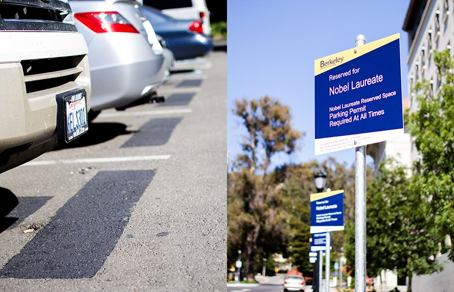 Former Nobel Laureate-designated parking spaces, pictured on the left in front of Gilman Hall, were painted over and relocated in front of Campbell Hall (pictured right).