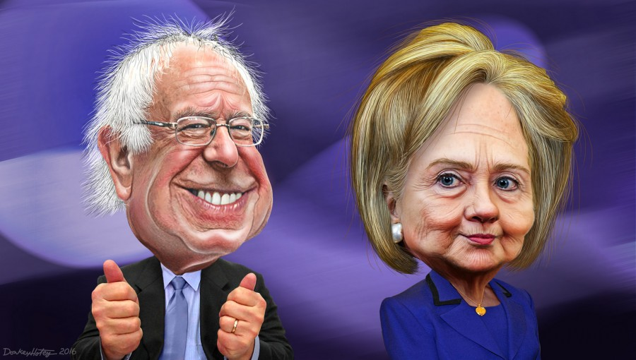bernie and hillary characatures