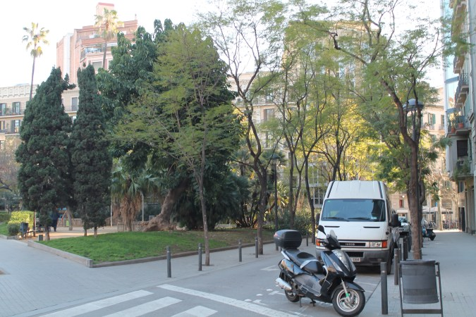 A park in the middle of a Barcelonan street