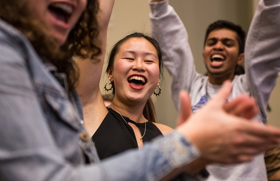Student advocate candidate Selina Lao, who was elected to office Friday, celebrates at the ASUC tabulations ceremony