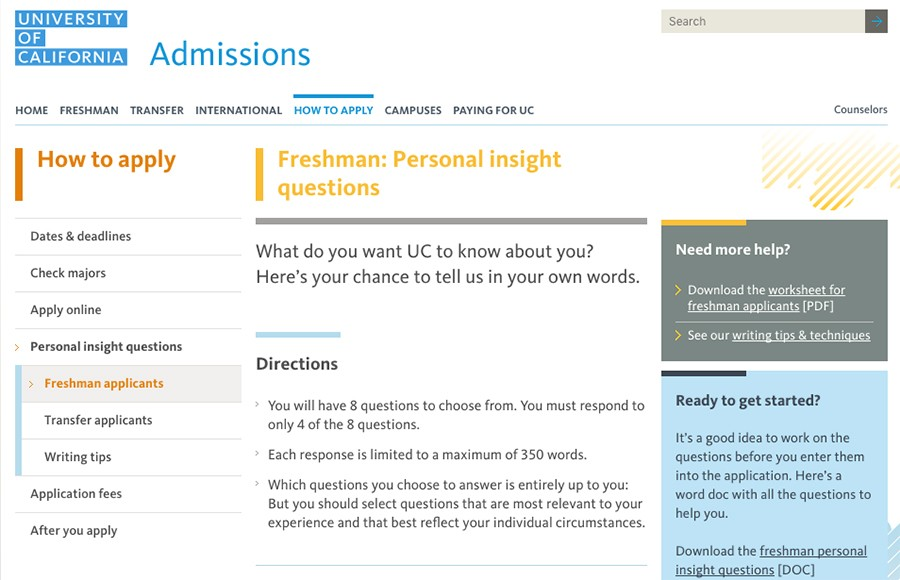 UC Office Of Admissions Releases New Essay Prompts For Class 2021