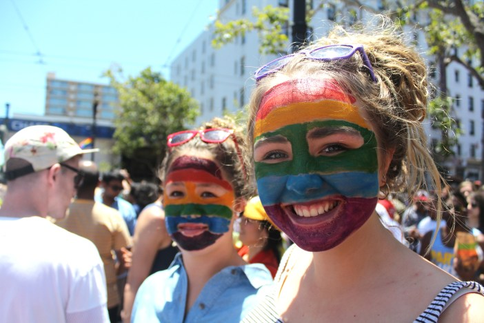 Painted faces for Pride