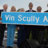 04-11-2016, Dodger Stadium, Mayor Eric Garcetti and Councilman Gil Cedillo attend Vin Scully Avenue Dedication.  1000 Elysian Park Avenue is now 1000 Vin Scully Avenue.  L-R: Vin Scully, Sandra Hunt, Mayor Eric Garcetti