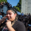 A Berkeley High School student speaks to a crowd of BHS and UC Berkeley students in protest of Donald Trump's election as US President on Wednesday November 9, 2016 in Berkeley, Calif. (Rachael Garner/Senior Staff)