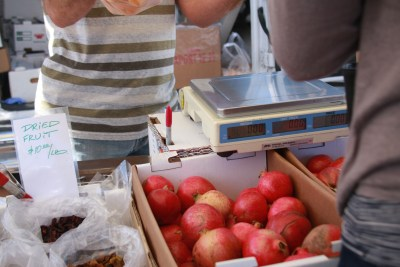 Pomegranates and dried fruit are also popular fare at the Market.