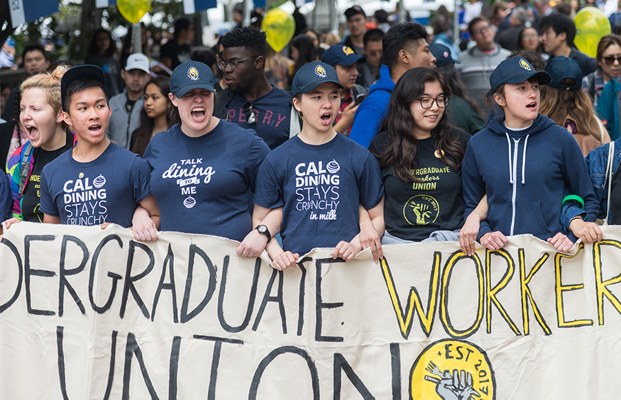 Undergraduate Workers Union protests in front of Sather Gate on Cal Day